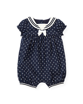 Baby Girl Nautical Navy Anchor Sailor Bubble at JanieandJack