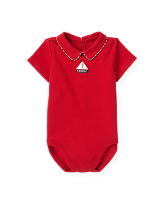 Baby Boy Nautical Red Sailboat Polo Bodysuit at JanieandJack