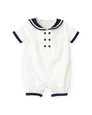 Baby Boy Jet Ivory Sailor Bubble at JanieandJack