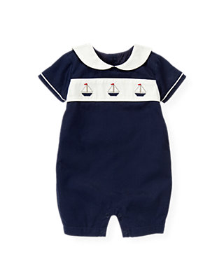 Baby Boy Nautical Navy Sailboat One-Piece at JanieandJack