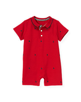 Baby Boy Nautical Red Sailboat Embroidered Short One-Piece at JanieandJack