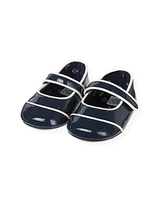 Baby Girl Nautical Navy Patent Leather Crib Shoe at JanieandJack