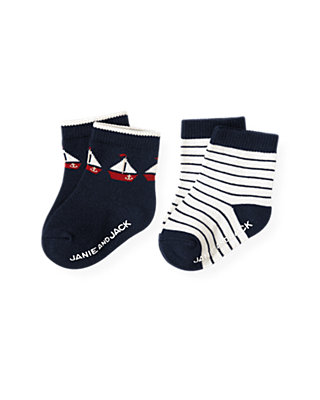 Baby Boy Nautical Navy Stripe Sailboat Stripe Sock Two-Pack at JanieandJack
