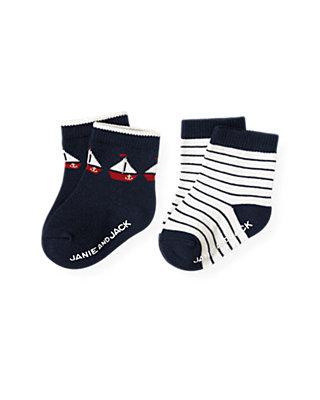Baby Boy Nautical Navy Stripe Sailboat Stripe Sock Two-Pack at JanieandJack