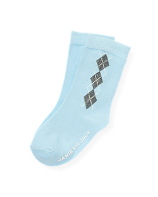 Boys Polar Blue Argyle Sock at JanieandJack