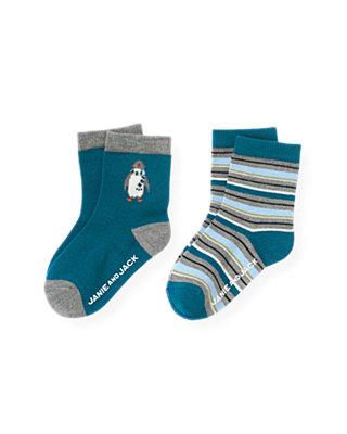 Boys Marine Blue Penguin Stripe Sock Two-Pack at JanieandJack