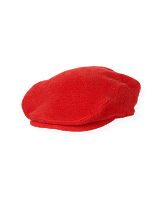Boys Fire Engine Red Melton Cap at JanieandJack