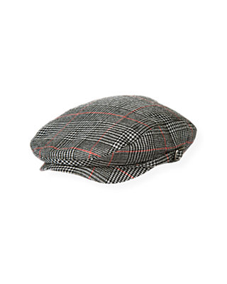 Boys Black Houndstooth Plaid Houndstooth Plaid Cap at JanieandJack