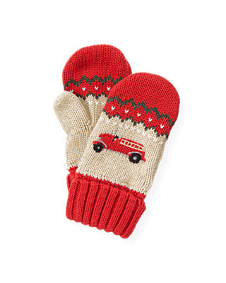 Fire Engine Red Fire Engine Sweater Mitten at JanieandJack