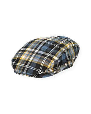 Boys Marine Navy Plaid Plaid Cap at JanieandJack