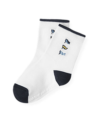 Boys Pure White Flag Sock at JanieandJack