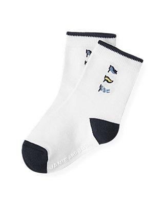 Boys Pure White Flag Sock at JanieandJack