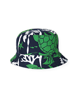 Boys Turtle/Seersucker Navy Stripe Turtle Stripe Reversible Bucket Hat at JanieandJack