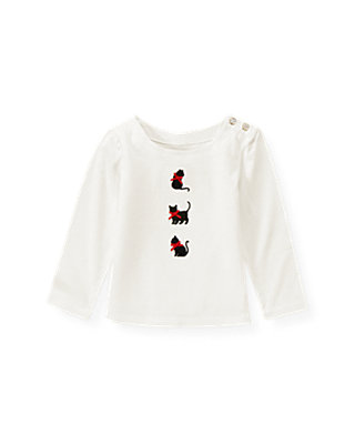 Jet Ivory Kitty Appliqué Top at JanieandJack