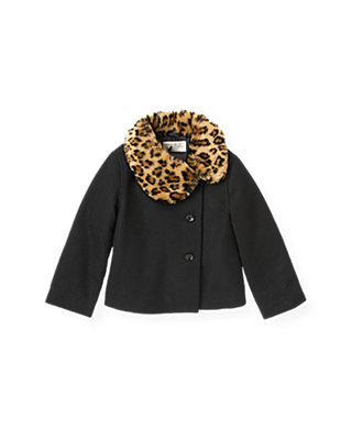 Classic Black Leopard Trim Coat at JanieandJack