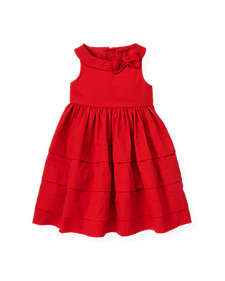 Cinnamon Red Tucked Bow Dress at JanieandJack