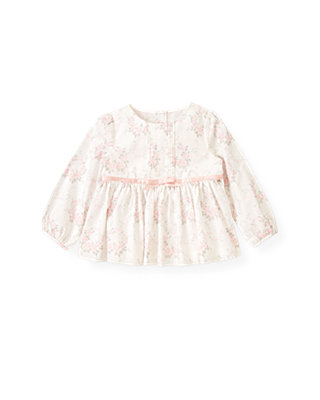 Ballet Pink Floral Pintucked Floral Wreath Top at JanieandJack
