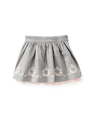 Ballet Grey Embroidered Twill Skirt at JanieandJack