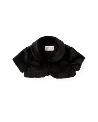Classic Black Faux Fur Crop Jacket at JanieandJack