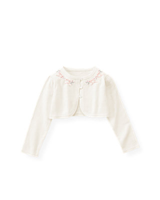 Jet Ivory Satin Ribbon Crop Cardigan at JanieandJack
