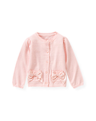 Ballet Pink Satin Bow Cardigan at JanieandJack