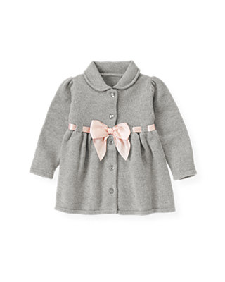 Ballet Grey Satin Ribbon Sweater Jacket at JanieandJack