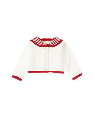 Baby Girl Jet Ivory Sailor Crop Cardigan at JanieandJack