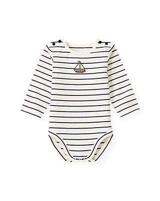 Baby Boy Nautical Navy Stripe Sailboat Stripe Bodysuit at JanieandJack