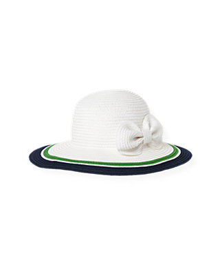 Pure White Bow Stripe Straw Sunhat at JanieandJack