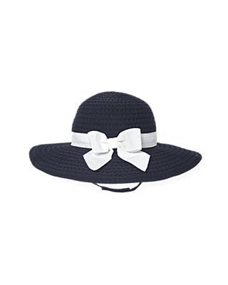 Resort Navy Bow Grosgrain Ribbon Hat at JanieandJack