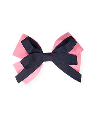 Azalea Pink Grosgrain Ribbon Double Bow Barrette at JanieandJack