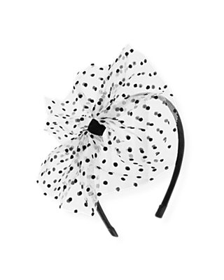 White/Black Flocked Tulle Pouf Headband at JanieandJack