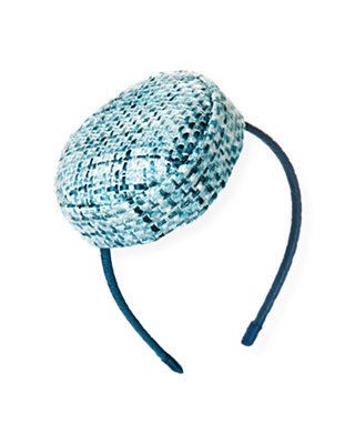 City Blue Plaid Bouclé Metallic Tweed Headband at JanieandJack