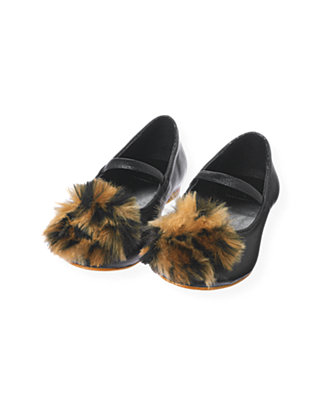 Classic Black Leopard Pompom Leather Shoe at JanieandJack