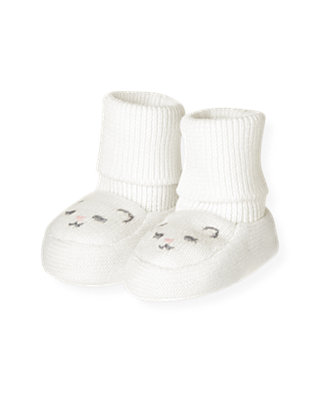 Baby Girl Jet Ivory Kitten Sweater Crib Bootie at JanieandJack
