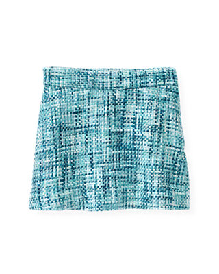 City Blue Plaid Bouclé Metallic Tweed Skirt at JanieandJack