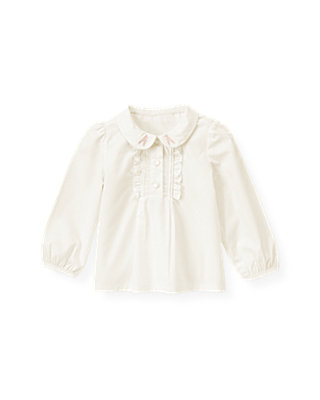 Jet Ivory Ruffle Placket Top at JanieandJack