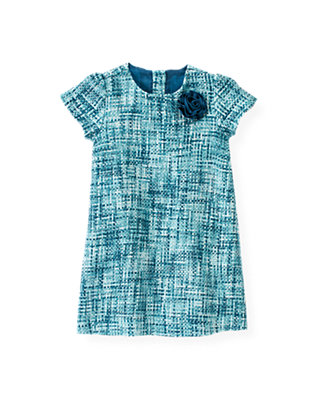 City Blue Plaid Bouclé Metallic Tweed Dress at JanieandJack