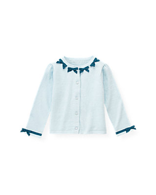 Iced Blue Grosgrain Bow Cardigan at JanieandJack
