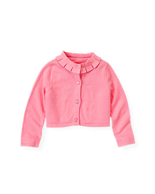 Azalea Pink Pleated Collar Crop Cardigan at JanieandJack