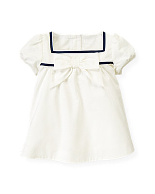 Jet Ivory Dobby Dot Sailor Top at JanieandJack