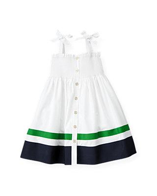Pure White Smocked Stripe Dress at JanieandJack