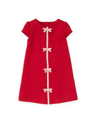 Valentine Red Pickstitched Bow Ponte Dress at JanieandJack