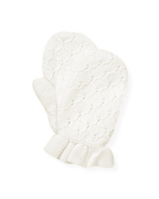 Jet Ivory Pointelle Sweater Mitten at JanieandJack