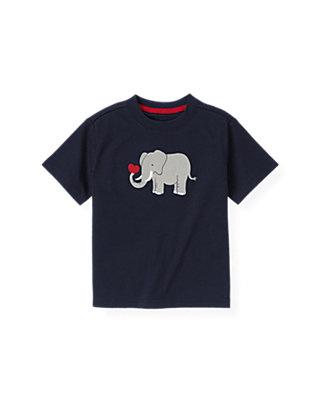 Boys Classic Navy Elephant Valentine Tee at JanieandJack