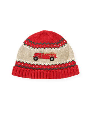 Boys Fire Engine Red Fire Engine Sweater Hat at JanieandJack