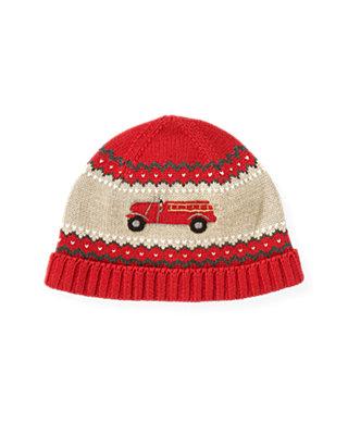 Boys Fire Engine Red Fire Engine Sweater Hat at JanieandJack