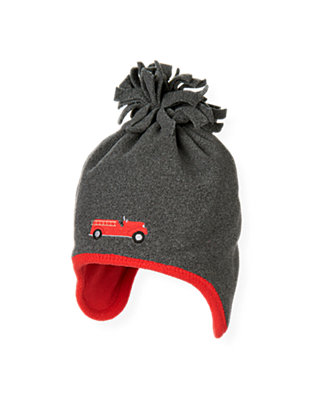 Boys Gray Stone Heather Fire Engine Microfleece Earflap Hat at JanieandJack