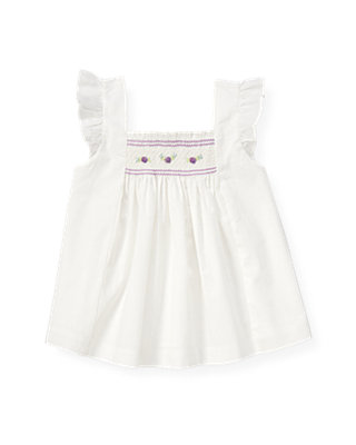Pure White Smocked Petunia Flower Top at JanieandJack