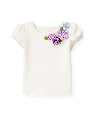Pure White Ribbon Corsage Top at JanieandJack